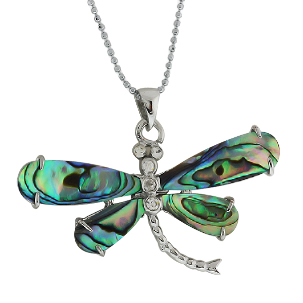 "50X30mm Abalone Shell With Cubic Zirconia Dragonfly Pendant  With 17"" Chain"