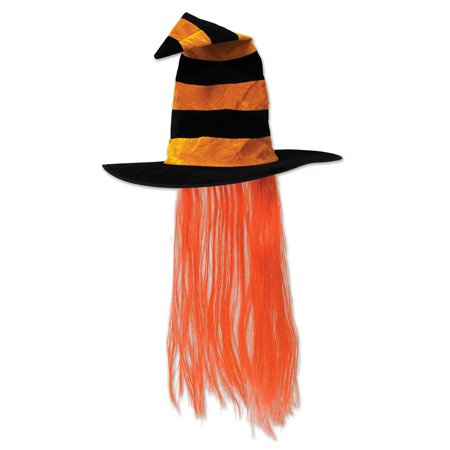Pack of 6 Orange and Black Halloween Witch Hat with Hair](Famous Groups Of 6 For Halloween)