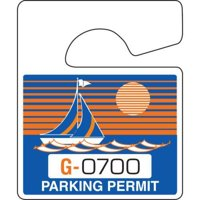 Plastic Parking Permit Tags, Non-Reflective, Blue/Orange, Small, Package Of 100