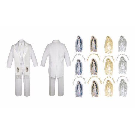 Boy Kid Baby Christening Baptism White Tail Suit Mary Maria Guadalupe Stole Sm-7 - Full Body Gorilla Suit