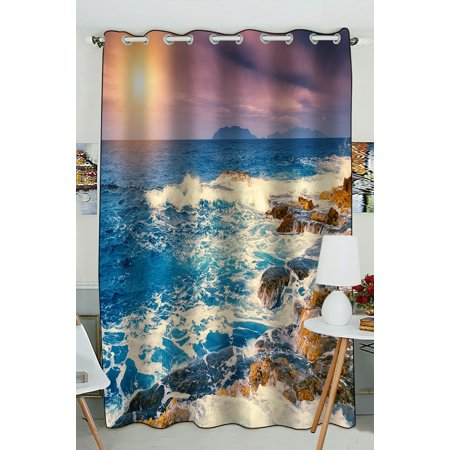 PHFZK Ocean Window Curtain, Fantastic Sunset View of the Cape Milazzo Window Curtain Blackout Curtain For Bedroom living Room Kitchen Room 52x84 inches One Piece