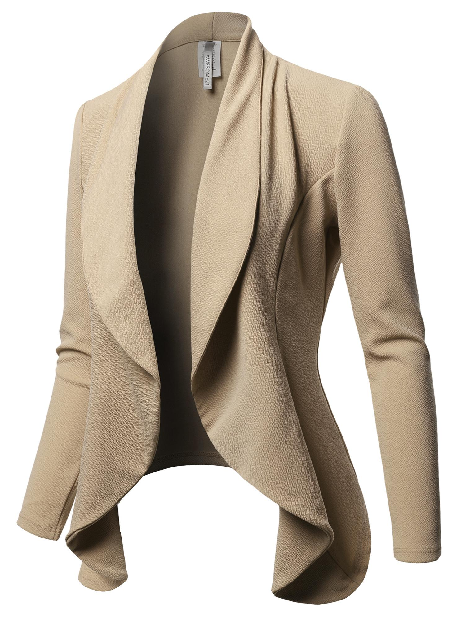 FashionOutfit Women's Solid Formal Office Style Open Front Long Sleeves Blazer - Made in USA