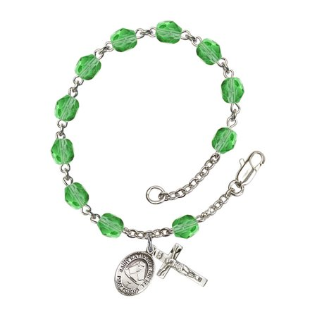St. Katharine Drexel Silver Plate Rosary Bracelet 6mm August Green Fire Polished Beads Crucifix Size 5/8 x 1/4 medal charm