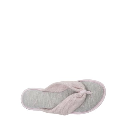 DF by Dearfoams Women's Textured Knit Thong Slipper
