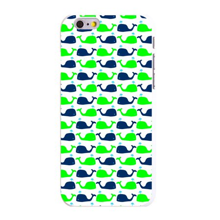 """CUSTOM White Hard Plastic Snap-On Case for Apple iPhone 6 PLUS / 6S PLUS (5.5"""" Screen) - Green Navy Cartoon Whales"""