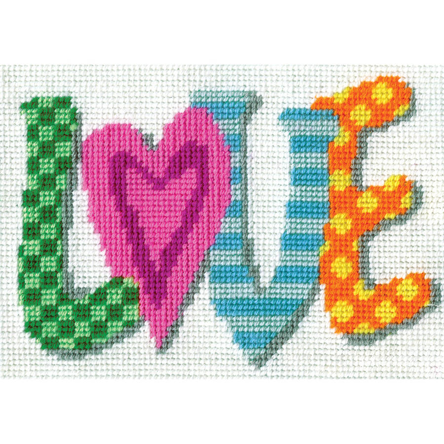 "Love Needlepoint Kit, 7"" x 5"" Stitched In Yarn"