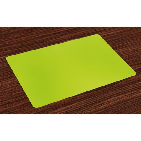 Lime Green Placemats Set of 4 Empty Backdrop Blurry Off Focus Pastel Toned Shade Color Spring Theme Abstract, Washable Fabric Place Mats for Dining Room Kitchen Table Decor,Apple Green, by Ambesonne
