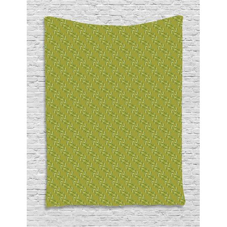 Olive Tapestry, Garden Elements Leaves and Round Foods Budding, Wall Hanging for Bedroom Living Room Dorm Decor, Pastel Green Jade Green Khaki Pale Olive Green, by Ambesonne
