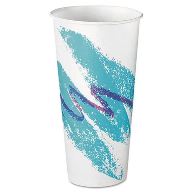 Solo Cups RS22NJ Eco-Forward Treated Paper Cold Cups, 22oz, Jazz Design, 50/Pack, 20 Packs/Carton
