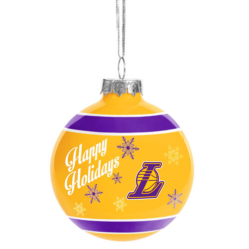 Los Angeles Lakers Happy Holidays Glass Ball Ornament