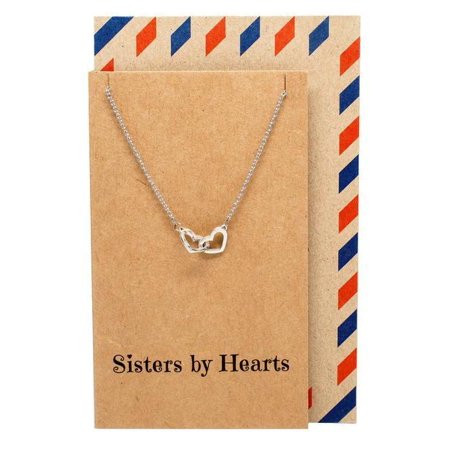 Quan Jewelry Interlocking Heart Sister Necklaces with Greeting Card, Big Sis, Little Sis BFF Birthday Gift Ideas (Birthday Ideas Nyc)