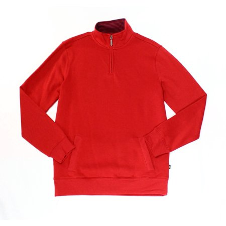 Club Room NEW Red Mens Size Small S 1/2 Zip Solid Mock Neck Sweater