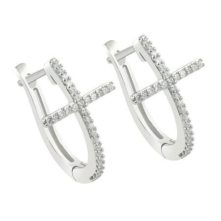 Diamond Cross Hoop Earrings In 10k White Gold