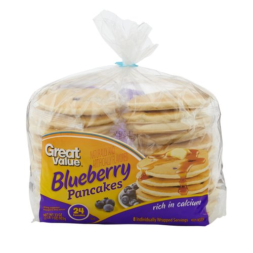 Great Value Blueberry Pancakes, 24 count, 33 oz