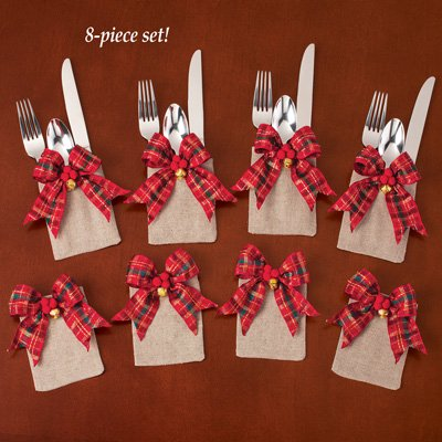 tartan plaid christmas silverware holders - Christmas Silverware Holders