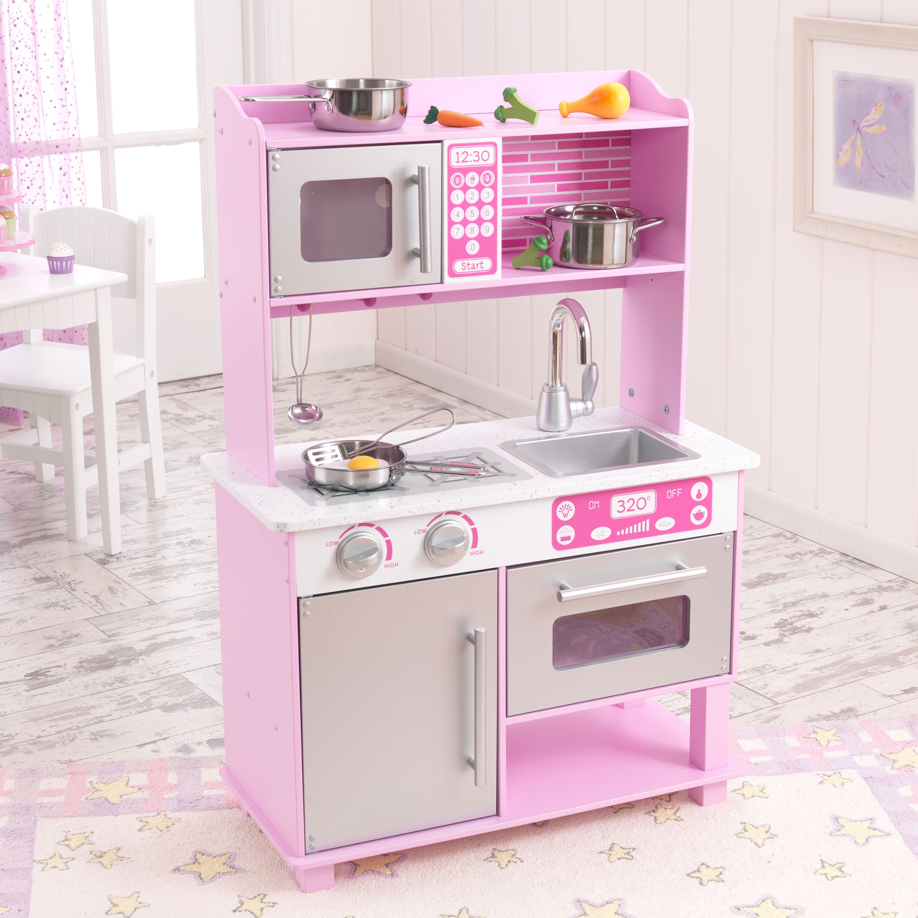 kidkraft pink toddler play kitchen with metal accessory