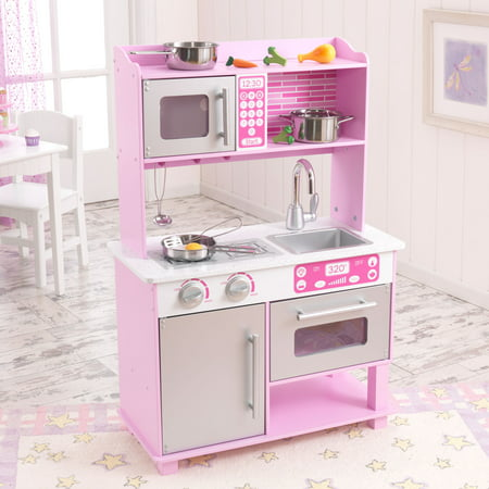 kidkraft pink toddler play kitchen with metal accessory set 53291. Black Bedroom Furniture Sets. Home Design Ideas