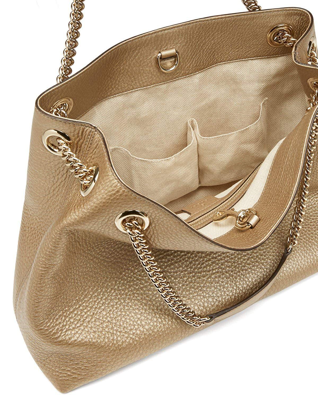808216e08 Gucci - Gucci Soho Metallic Chain Medium Tote Golden Beige Leather New Bag  - Walmart.com