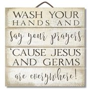"""Highland Graphics 12"""" Inspirational Sign """"Wash Your Hands and Say Your Prayers..."""" Funny Wall Decor"""