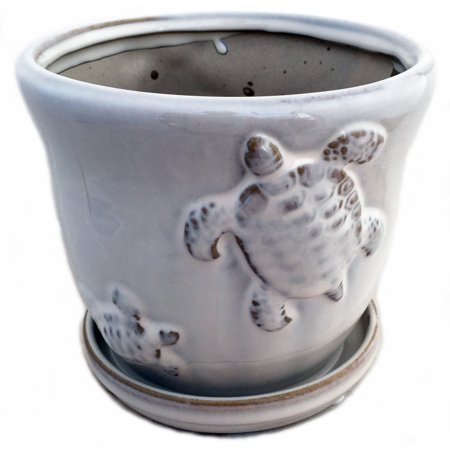Ceramic Turtle Planter (Turtle Nature Pot with Attached Saucer plus Felt Feet - 8