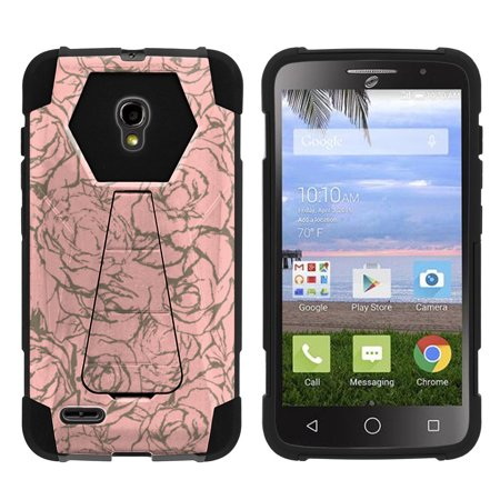 Wall Pops Island Fusion (Alcatel One Touch Pop Icon 2 A846L Shock Fusion Heavy Duty Dual Layer Kickstand Case -  Rose)
