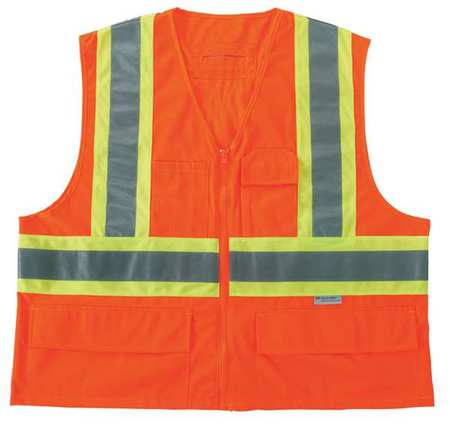 ERGODYNE 8235ZX High Visibility Vest, Class 2, S/M, Orange