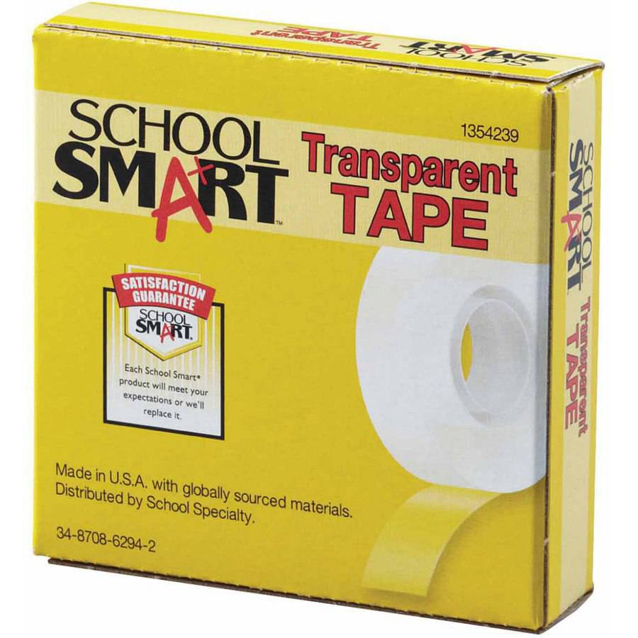 School Smart Self-Adhesive Tape with 1 in Core, Multiple Sizes, Transparent, Pack of 12