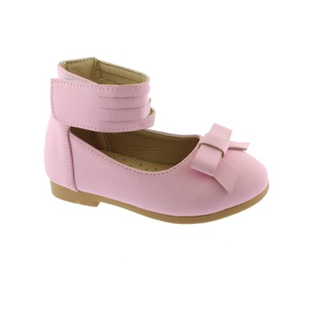 Kate Little Girls Pink Ankle Strap Bow Mary Jane Shoes