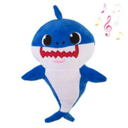 2019 Baby Shark Plush Singing Toy Music Doll English Song and LED Light Stuffed Toy for Kids Gift/Birthday Gift(Blue)