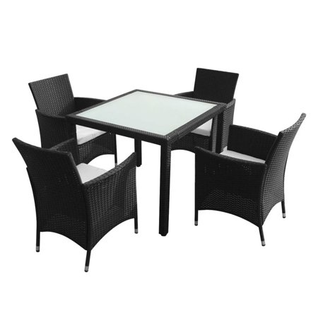 9pcs Rattan Square Dining Table Chairs Cushion Combination Set Restaurant Cafe Balcony Backrest Chairs Home Dining Table ()
