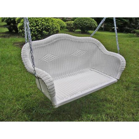Wicker Resin Steel Patio Porch Swing White