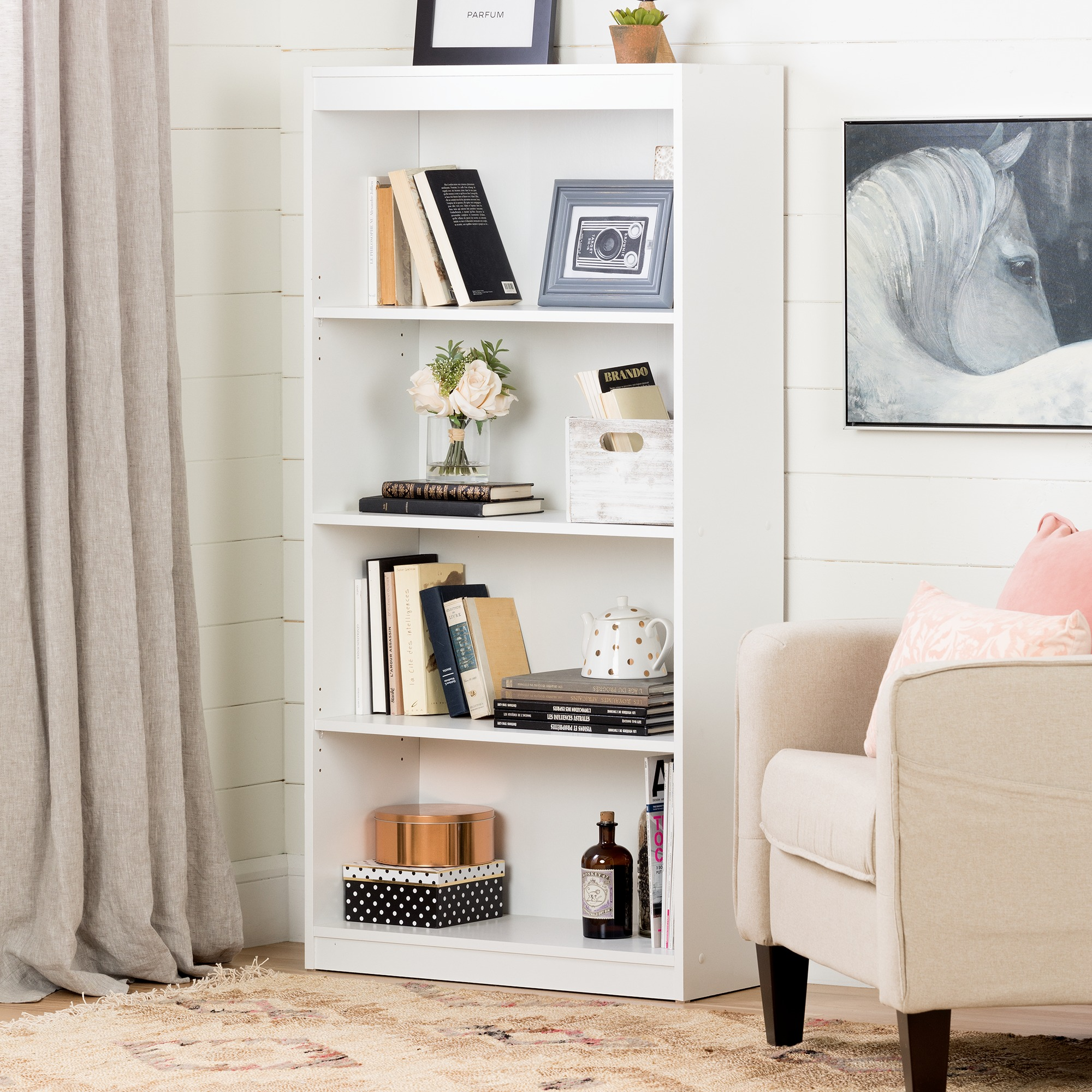 South Shore Smart Basics 4 Shelf 56 Quot Bookcase Multiple Finishes Walmart Com