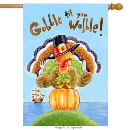 Gobble Thanksgiving House Flag Turkey Holiday Humor 28