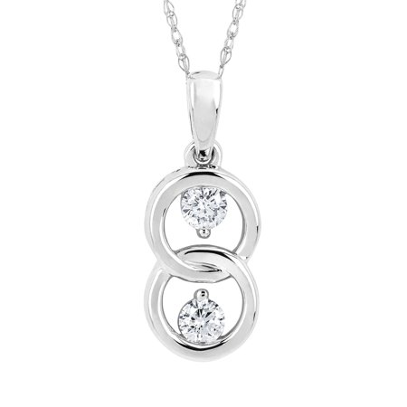 14k white gold 20 cttw diamond 2 stone double circle pendant 14k white gold 20 cttw diamond 2 stone double circle pendant necklace with 18 aloadofball Choice Image