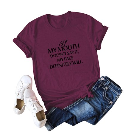 Casual Women Cotton T-Shirt MY MOUTH Letter Print Short Sleeve O-Neck Loose Tee Tops - image 1 de 5