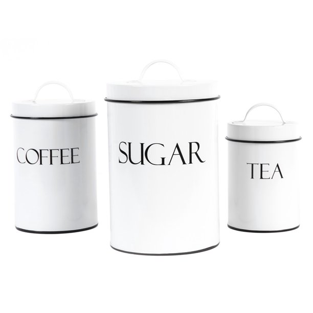 Outshine White Farmhouse Nesting Kitchen Canisters Set Of 3 Kitchen Canister Set Perfect For Coffee Tea Sugar Coffee Bar Accessories Gift For Housewarming Birthday Wedding Bridal Shower Walmart Com Walmart Com