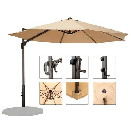 10ft Umbrella Outdoor Patio Sun Shade Cantilever Crank Canopy Hanging Roma Offset