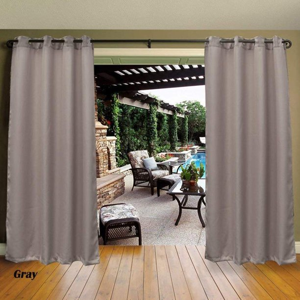 Cross Land Outdoor Curtains Uv Protection Thermal Insulated Blackout For Patio Garden Gray 54 X 84 Walmart Com Walmart Com