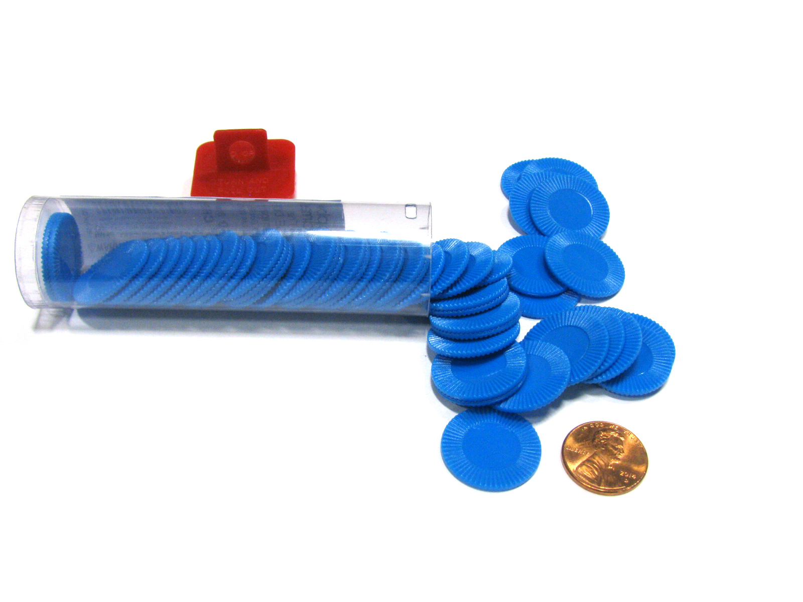"""Koplow Games Set of 50 7 8"""" Easy Stacking Plastic Mini Playing Poker Chips Blue #13379 by Koplow Games"""