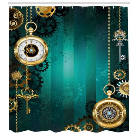 Industrial Shower Curtain, Antique Items Watches Keys and Chains with Steampunk Influences Illustration, Fabric Bathroom Set with Hooks, Multicolor, by Ambesonne (Shower Curtain Chains)