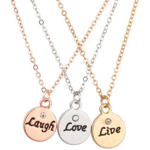 """Best Friends """"Laugh"""", """"Love"""", """"Live"""" Necklace Set, 3-Piece"""