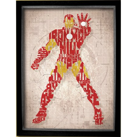 Marvel Printed Glass Iron Man Shadowbox Frame Walmart Com