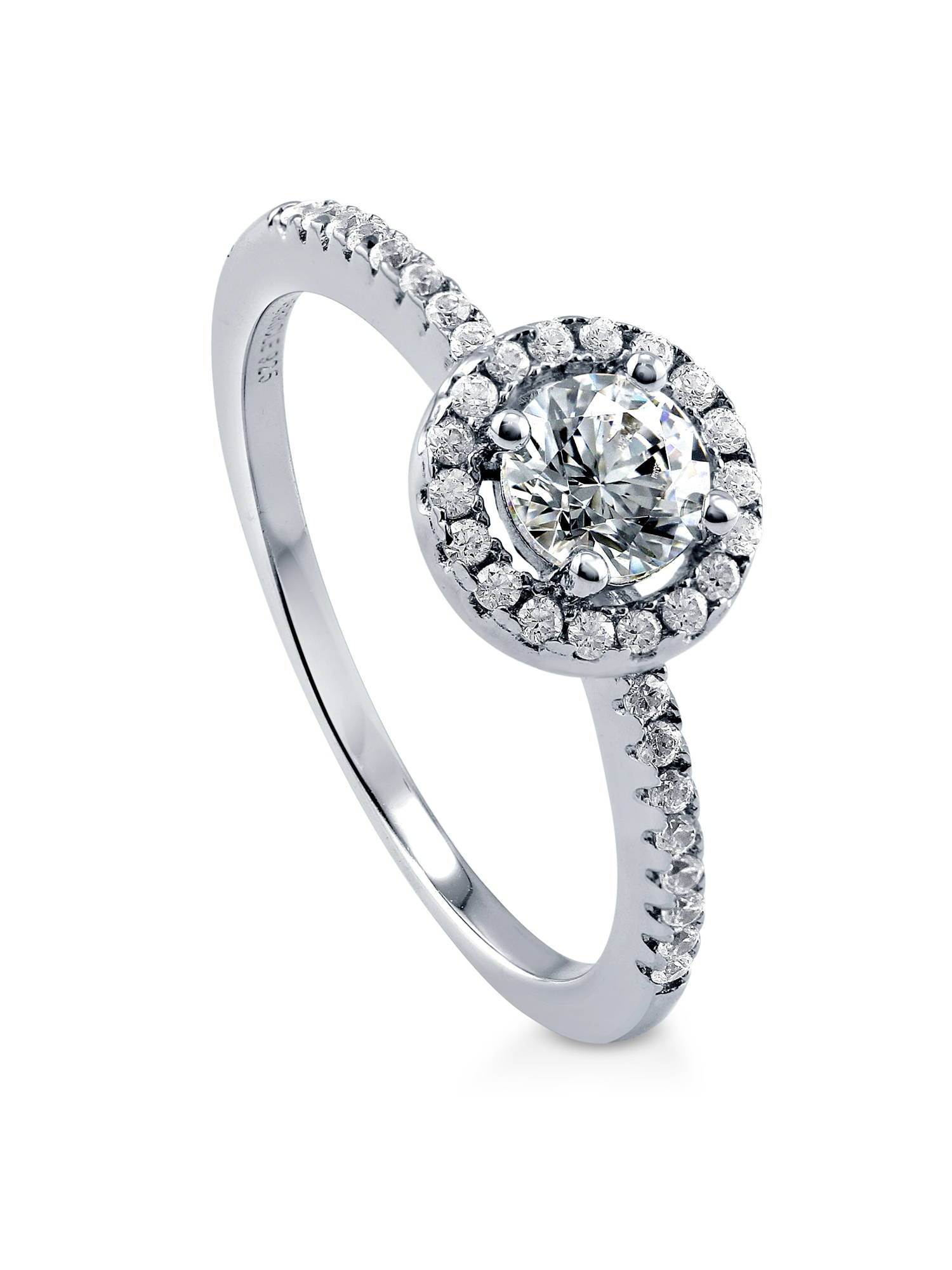 Rhodium Plated Sterling Silver Halo Promise Engagement Ring Set w/ Swarovski Zirconia Size 10.5