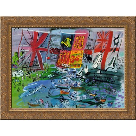 - Henley Regatta 24x18 Gold Ornate Wood Framed Canvas Art by Raoul Dufy