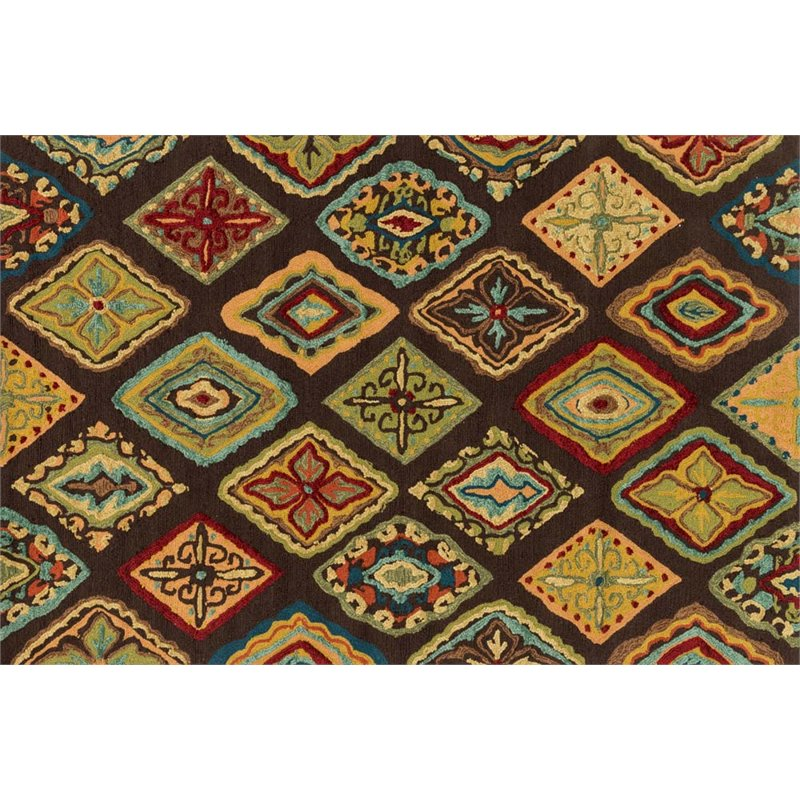 Loloi Olivia 2' x 5' Hand Hooked Rug in Brown
