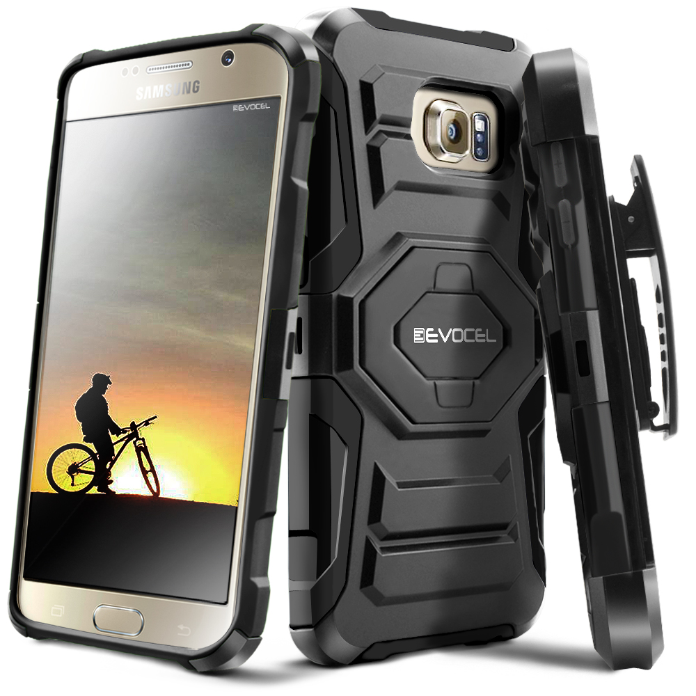 Galaxy S6 Case, Evocel [Belt Clip Holster] [Kickstand] [Dual Layer] New Generation Phone Case for Samsung Galaxy S6 (SM-G920), Black
