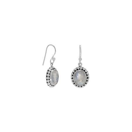 Rainbow Moonstone Oval Sterling Silver Bead Frame Earrings