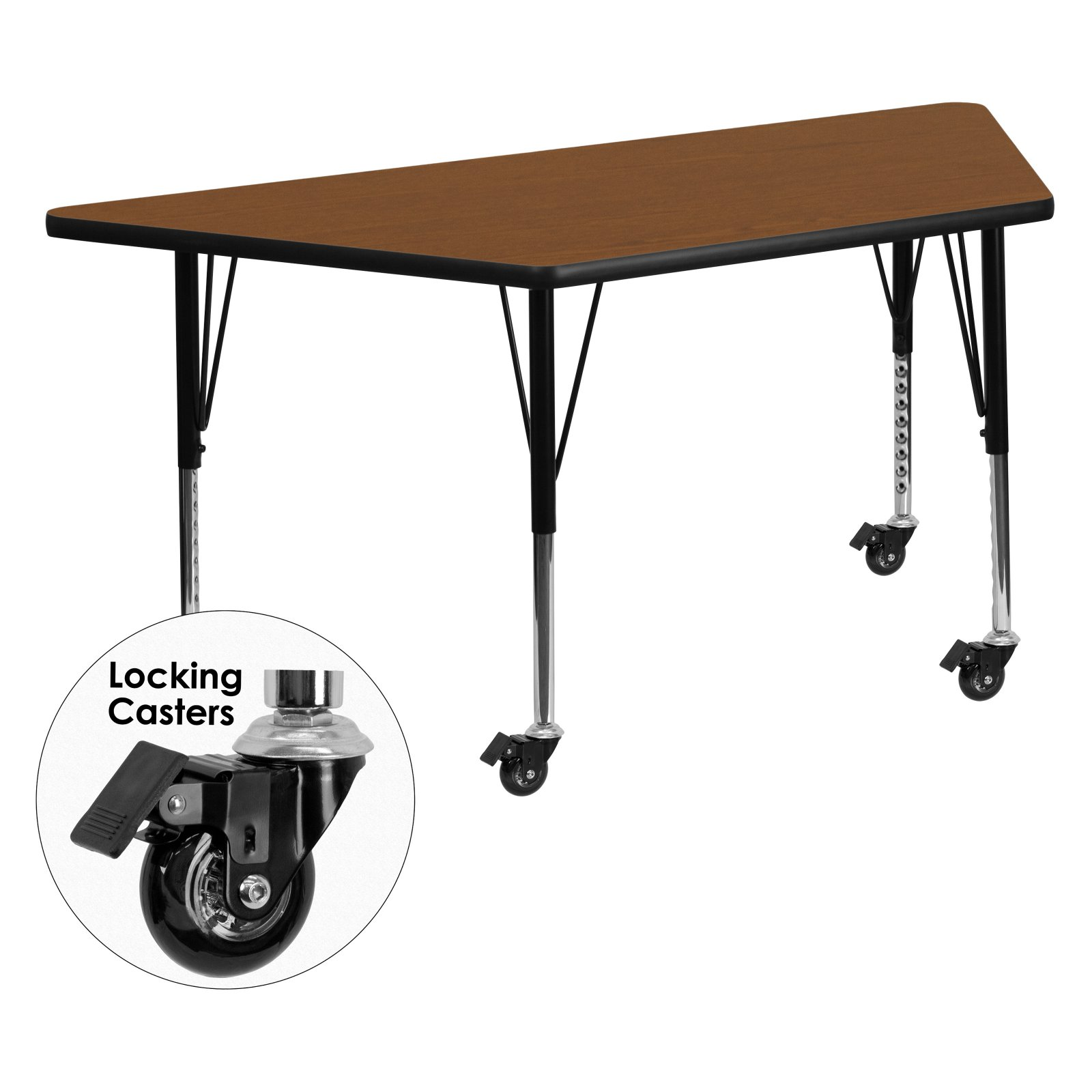Flash Furniture Mobile 30''W x 60''L Trapezoid Activity Table with 1.25'' Thick High Pressure Oak Laminate Top and Height Adjustable Preschool Legs