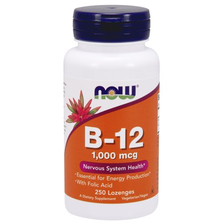 NOW Supplements, Vitamin B-12 1000 mcg with Folic Acid, 250 Chewable Lozenges