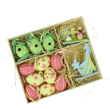 Set of 13 Pink Blue Green and Yellow Easter Egg Birdhouse and Rooster Spring Decorations ()